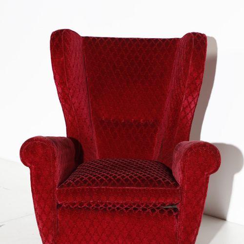 Manifattura Italiana MANIFATTURA ITALIANA Paire de fauteuils. Bois et tissu remb…