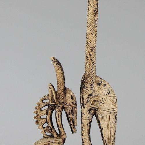 """Zwei Bamana Kopfschmuckfiguren """"Chi Wara"""" a) softwood carved with remains of bla…"""