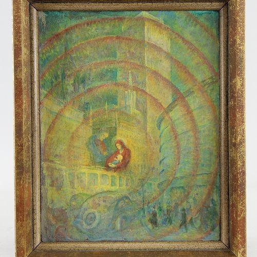 Berliner Maler des 20. Jhd. Peinture, huile sur toile brute, scène de rue de Ber…