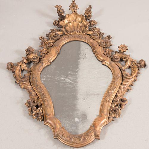 Paire de miroirs en bois sculpté et doré. Lombard Vénitien, seconde moitié du XV…