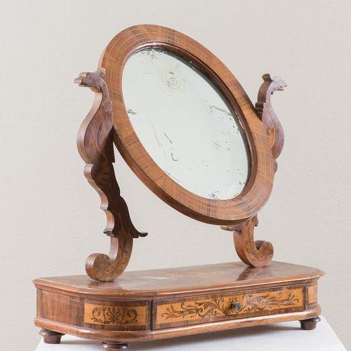 Miroir de coiffeuse de style Charles X. 19ème siècle. Marqueterie en noyer et ér…