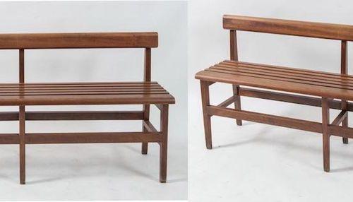 一对木质长椅。意大利制造,约1960年。每套70.5x154x34厘米。