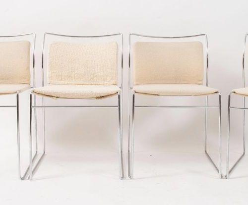 KAZUHIDE TAKAHAMA 八把金属和织物的椅子,Tulu型号。由西蒙 加维纳Ultramobile公司制作,意大利,1968年。Cm 47x50x73…