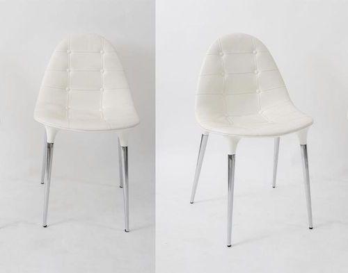 PHILLIPE STARCK 四把小扶手椅,镀铬钢,抛光尼龙和皮革装饰,型号245 Caprice。由意大利Cassina公司制造,2007年。每个82x49…