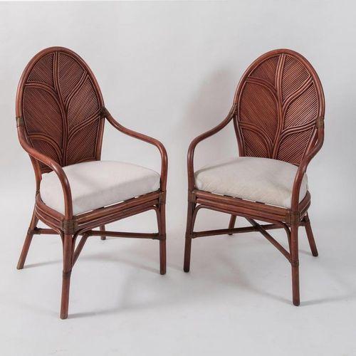 VIVAI DEL SUD, attr.一对扶手椅,采用弯曲的竹子和几内亚藤条及织物。意大利制造,约1970年。每个105x60x59厘米。