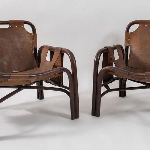 TITO AGNOLI, attr.一对竹制扶手椅,用皮革装饰。有缺陷。由意大利Bonacina公司制造,约1960年。每个69x73x66厘米。