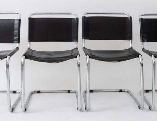 MART STAM 四把椅子,镀铬管状金属框架和皮革装饰;S33型。由德国Thonet公司制造,1927年。每个85x52x50厘米。