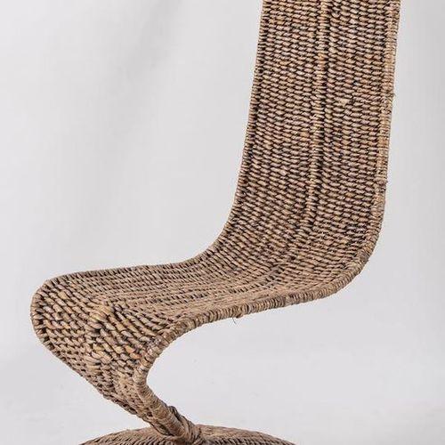 MARZIO CECCHI 金属框架和编织绳套的扶手椅,型号S椅。由意大利Most公司制造,约1980年。Cm 120x60x63。