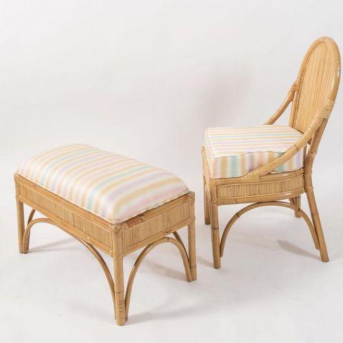 带沙发的扶手椅,采用弯曲的竹子和印度藤条,用皮革和织物包扎。意大利制造,约1980年。每个尺寸为75.5x39x46厘米和97x43x46厘米。