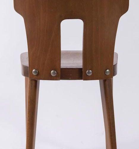 四张木椅。意大利制造,约1960年。每张80x40x38厘米。