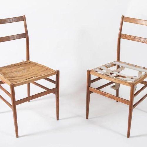 GIO PONTI 一对白蜡木椅子,型号Leggera。由意大利Cassina公司制造,约1957年。每厘米36.5x40x81.5。缺陷)出版物。Repert…