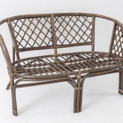 柳条和竹子沙发。意大利制造,约1970年。Cm 68x112,5x67,5。
