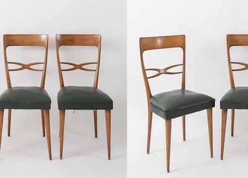 MELCHIORRE BEGA, attr.六把带皮套的木椅。意大利制造,约1960年。Cm 95x42,5x42。