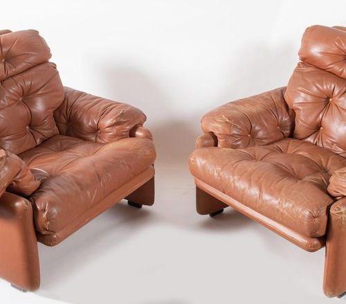 AFRA & TOBIA SCARPA 一对皮革扶手椅 Coronado型号。原始商标。有缺陷。由意大利B&B公司制造,1966年。每个75x90x90厘米。