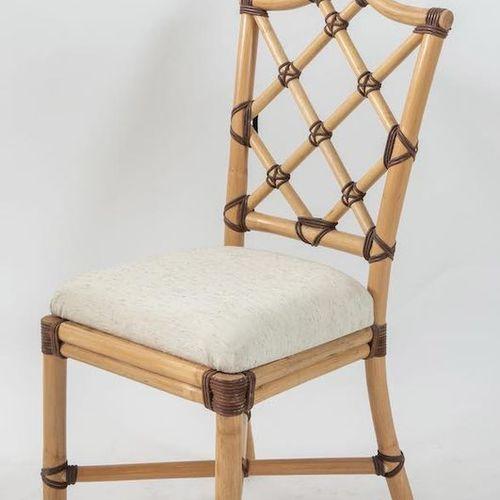竹子和布艺椅子,有皮革包边。意大利制造,约1970年。Cm 110x44x46。