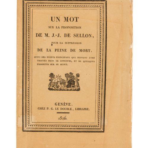 Jean Jacques Sellon NO RESERVE Sellon (Jean Jacques) Un Mot sur la Proposition .…