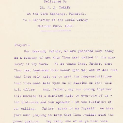 Dr. R. A. Torrey NO RESERVE Sermons. Torrey (Dr. R. A.) Sermons, 2 vol., sermons…