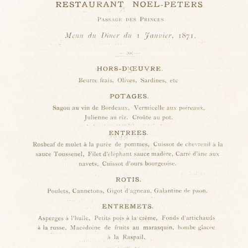 NO RESERVE Siège de Paris (1870 1871) Restaurant Noel Peters. Menu du Diner du 1…