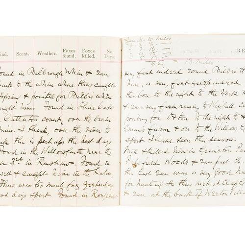 Yorkshire. Journal de chasse au renard, manuscrit, 92pp, maroquin original, doré…