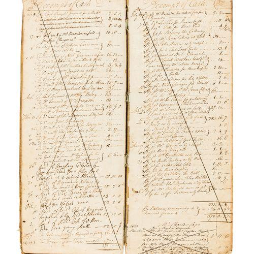 """Yorkshire. Knaresborough. 现金账簿,手稿账簿,约250页和15页索引,棕色,原版牛皮纸,有污损,封面上直接刻有 """"Cash Book …"""