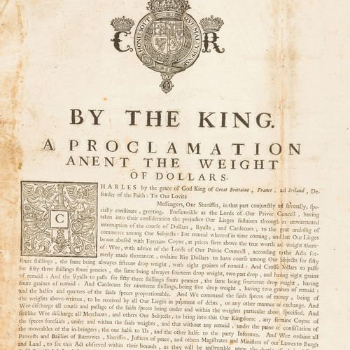 Charles I Ecosse Charles I. A Proclamation Anent the Weight of Dollars, armoirie…