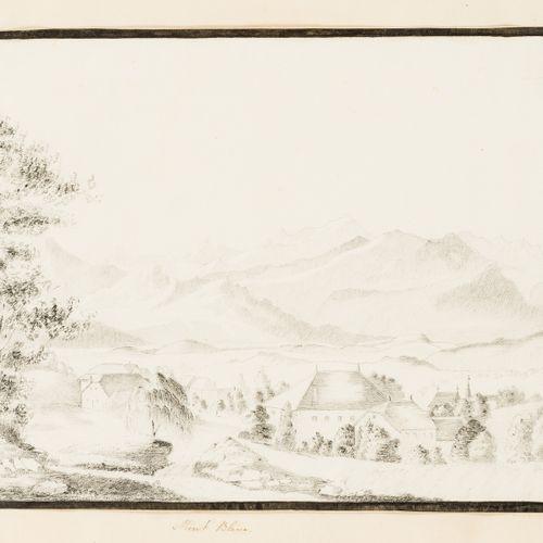 "Grand Tour Album. 手稿、图画和雕刻的专辑,包括:图画。""勃朗峰"";""普兰根城堡 ""和卢瓦尔河的其他城堡,德国,俄罗斯,""La Pavillon…"