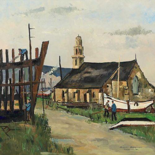 Jacques BOUYSSOU (1926 1997).  Construction d'une coque de bateau devant l'églis…