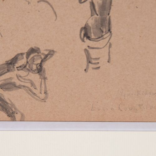 COUSTURIER Lucie (1870 1925)  Étude de têtes et d'africaines  Dessin au lavis, s…