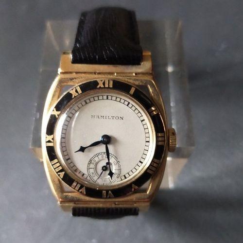 HAMILTON  Montre bracelet en plaqué or 14k (585) pour le marché américain. Lunet…