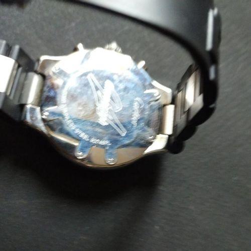 CARTIER  Chronoscaph  Ref. 2424. No. 90748 PL.  Chronographe bracelet en acier. …
