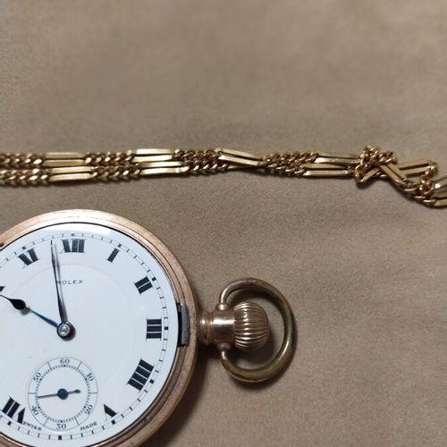 Rolex. Montre savonnette plaquée or jaune 18K (750 millièmes). Secondes à 6 heur…