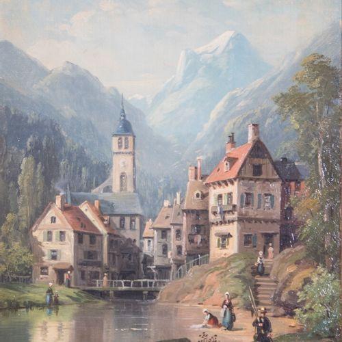 Ecole Suisse du XIXe  Village de montagne  Huile sur toile  (accident au cadre)