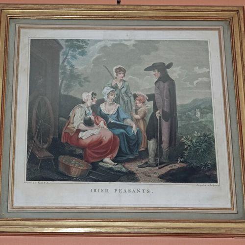 """BORTIGNONI d'après WESTALL  Paire de gravures en couleurs : """"English peasants"""" e…"""