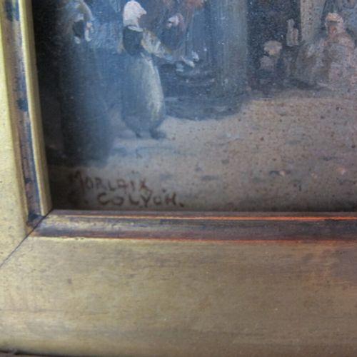 """Ecole du XIXème siècle  """"Morlaix""""  Huile sur panneau signée et titrée en bas à g…"""
