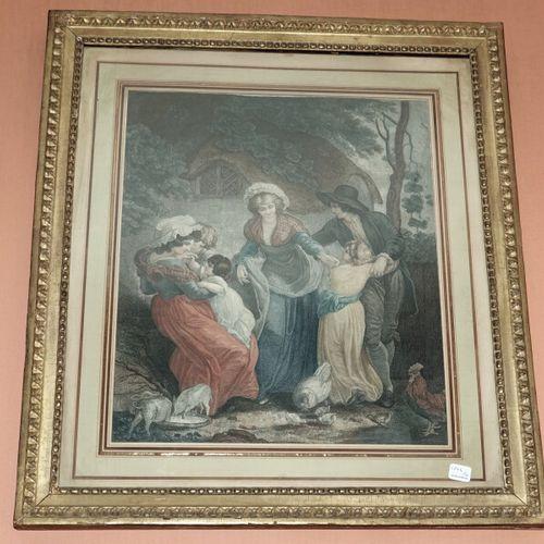 Paire de gravures anglaises en couleurs représentant des scènes familiales  Haut…