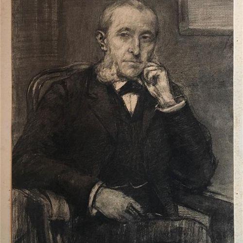 """ARMBRUSTER R.H. École allemande du XIXe siècle  """"Portrait d'homme assis"""" et """"Etu…"""