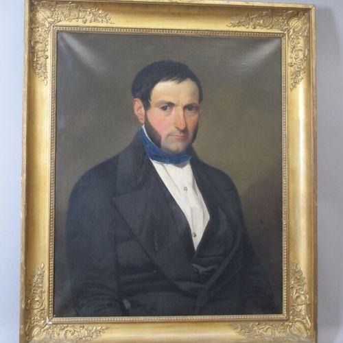 Ecole du XIXème  Portrait d'homme et portrait de femme  Deux toiles formant pend…