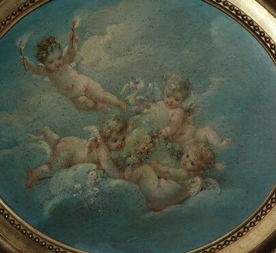 Amour dans des nuées  Paire de peintures à l'huile  25 x 33 cm  (fentes et resta…