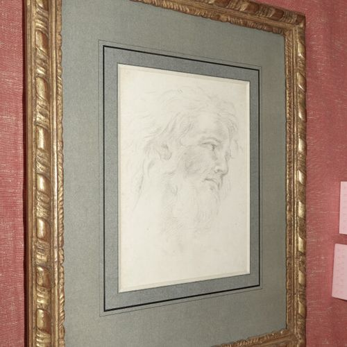 Ecole Française du XVIIIème siècle  Tête d'homme barbu  Dessin au crayon  23,5 x…