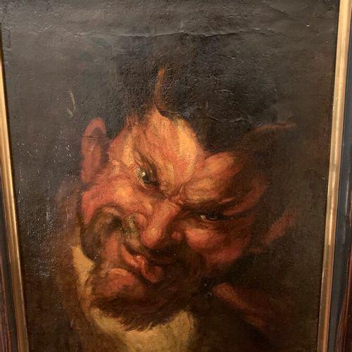 Ecole flamande du XVIIIème  Portrait d'un satyre  Huile sur toile