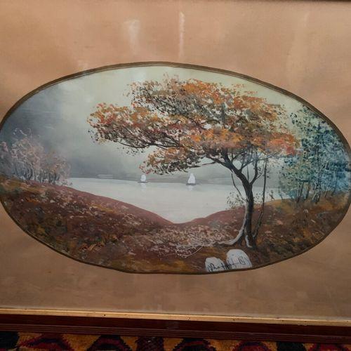 Ecole Moderne début XXe  Paysage cotier  Paire d'aquarelles sur papier, signé  V…