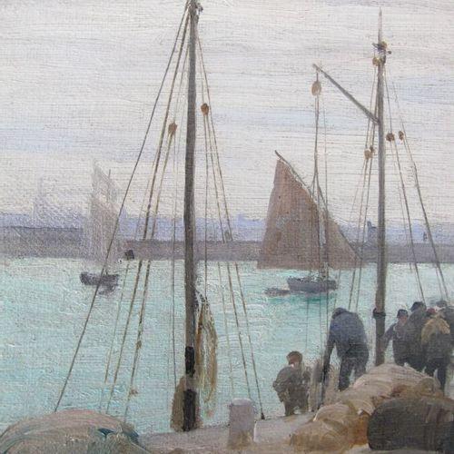 BOUILLE Etienne (1858 1933)  Le retour de pêche  Huile sur toile signée en bas à…