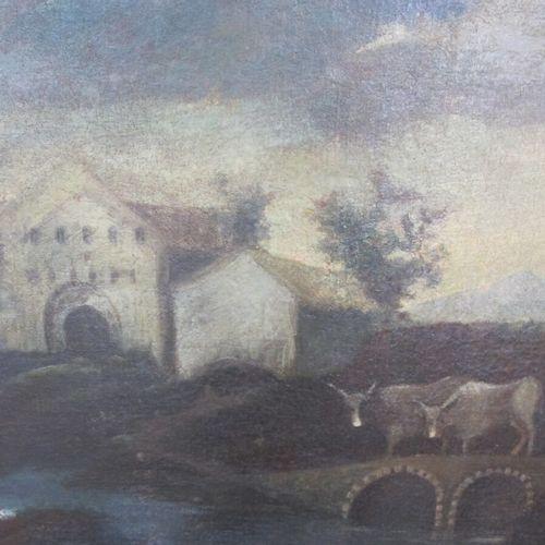 Ecole italienne du XVIIIème siècle  Paysage de la campagne piémontaise  Huile su…