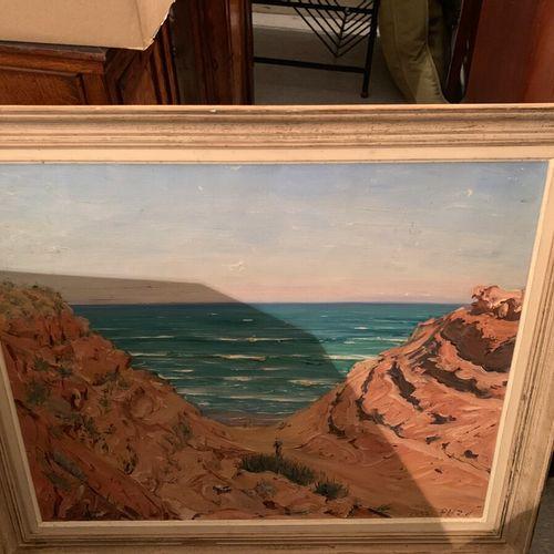 Ecole du XXème siècle  Dunes au bord de l'océan  Huile sur toile, signé et daté …