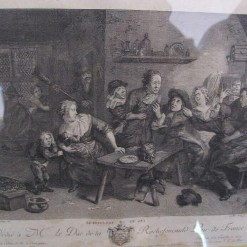 Lot de quatre gravures  La plus grande : 42 x 34 cm (à vue)