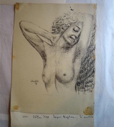 """KAPLAN Jacques (1872 1949) """"L'éveillée"""", 1895 Encre sur papier calque collée sur…"""
