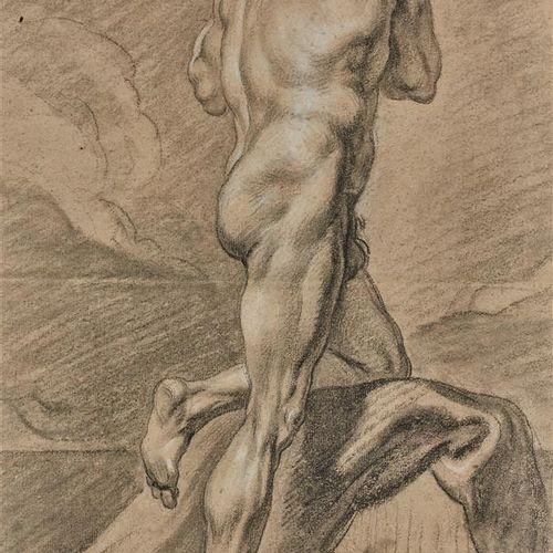 """Attribué à DURAMEAU Louis Jean Jacques (1733 1796)  """"Académie d'homme""""  Pierre n…"""