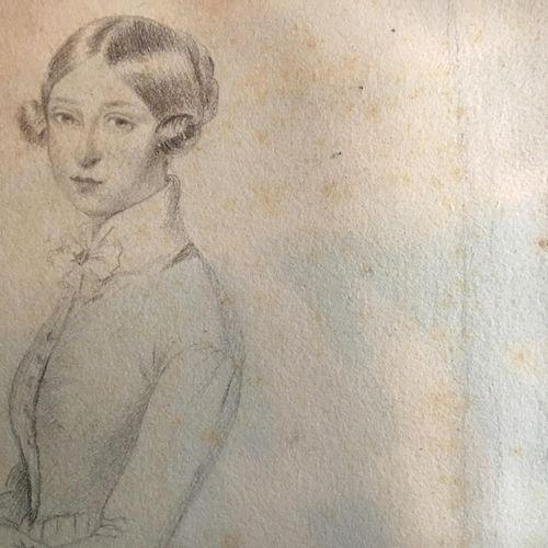"""DEVÉRIA Eugène (1805 1865)  """"Portrait de jeune femme debout""""  Mine de plomb sur …"""