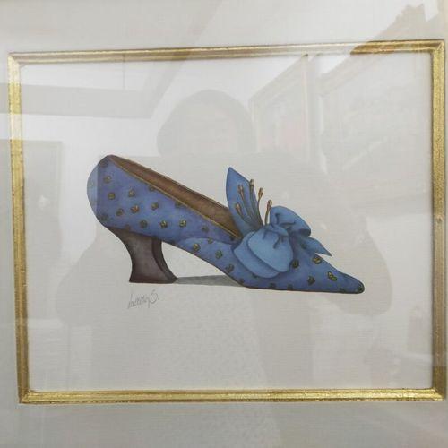 Ensemble de 3 dessins représentant des souliers  Haut. : 27 ; Larg. : 33 cm