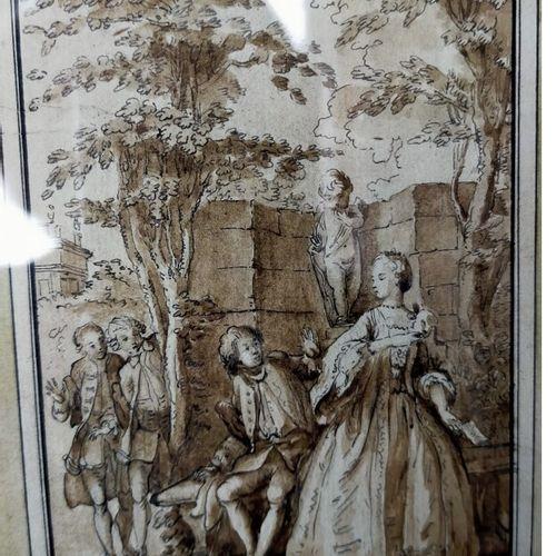 Ecole françiase du XVIIIe siècle  le billet doux  Plume et encre de Chine, lavis…
